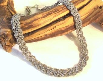 Braided Silver Necklace - Retro Silvertone Choker - Silver Choker - Retro Jewelry - Costume Jewelry - Womens Jewelry - Necklace Jewelry