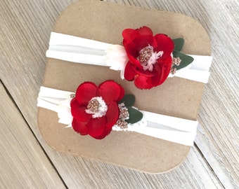 Red and Green Christmas Ivory Stretch Headband for Baby Girl - Newborn to 6 months - Ready to Ship