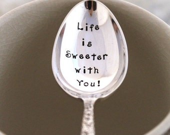 Stamped Spoon Vintage - Life is Sweeter with You - Valentine's Day, Mother's Day Wedding Decor Cake Table Setting - Summer Glen 1980
