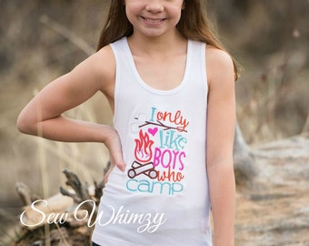 Camping Girl Embroidered shirt- Summer Camp Applique Shirt- Girl Summer Shirt- Camping Shirt- Campfire shirt- Girl Smores shirt- Girl tank