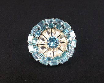 Aquamarine Baguettes and Clear Triangle Concave Rhinestone Brooch
