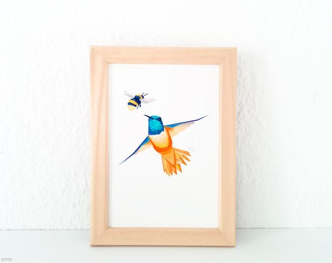 Hummingbird print, Hummingbird logo, Bee art, Geometric hummingbird, Amazon bird, Blue and orange decor, Amazon birds, Flying bird, tinykiwi