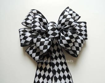 Black Harlequin Wired Ribbon Bow Black Harlequin Wreath Bow Black Harlequin Birthday Party Decor Alex the Wonderland Party Decor Gift Bow