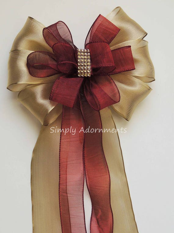 Gold Marsala Wedding Pew Bow Marsala and Gold Wedding Ceremony Decoration Gold Burgundy Wedding Aisle Bow Gold and Marsala Wired ribbon Bow