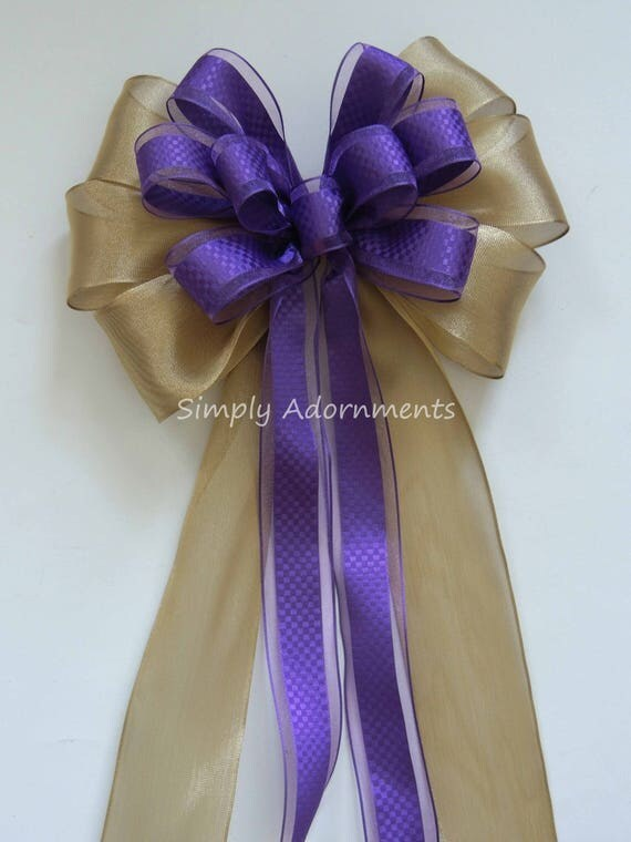 Purple Gold Wedding Pew Bow Purple gold Graduation Party Decor Grad Party Decor Purple Gold Birthday Party Decor Bridal Shower Party Decor