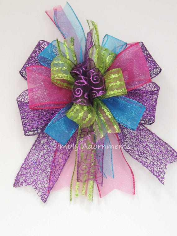 Pink Green Blue Purple Christmas Tree Topper Multicolored Whimsical Christmas Lantern Swag Bow Multicolored Gift Basket Bow Birthday Decor
