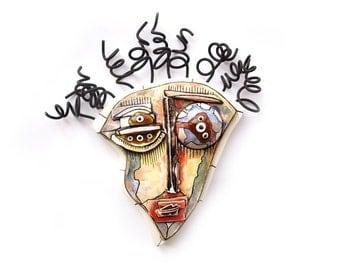 Crazy art sculpture, Art Assemblage, Wall Ceramic mask, Abstract face, Wire art sculpture, Fun art sculpture, 3D sculpture by 99heads