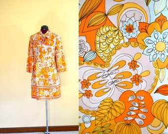1960s Vintage Orange Floral A-line Dress size M L bust 38