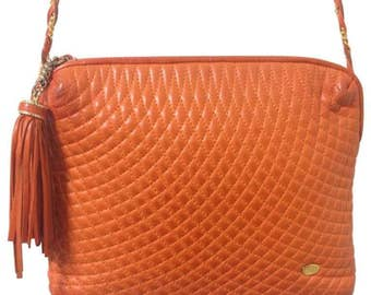 Vintage BALLY rare color, orange quilted lambskin golden chain shoulder purse with golden motif and matching tassel. Must have.