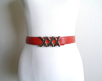 Vintage Red Leather Belt - 80s Red Leather Belt - Womens Belt - Gold Buckle - Made in USA - Genuine Leather - 1980s Style - 25 to 29 Waist