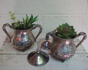 Vintage SILVERPLATE Creamer & Sugar Bowl SUCCULENT PLANTERS with Lids: Serving Set Too- Cute!