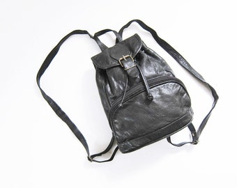 Black Leather Backpack / Leather Mini Backpack / Small Backpack / 90s Backpack