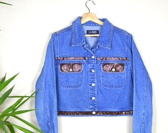 1990's Denim Jacket with Studs and Faux Snakeskin / LA Blues 90s Grunge