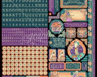 "Sale-Graphic 45 ""Midnight Masquerade""  12x12 cover-weight sticker sheet"