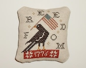 Completed Cross Stitch Ready to Ship Primitive Patriotic Americana Pinkeep Pillow Ornament