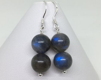 Labradorite Earrings, Labradorite and Sterling Silver Earrings, Blue Labradorite and Silver Earrings, Blue Flash Labradorite