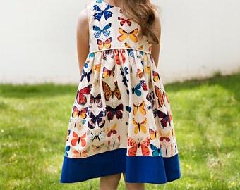 Girls sleeveless butterfly dress, party summer cotton dress, butterflies, sizes 12 m to 12 years