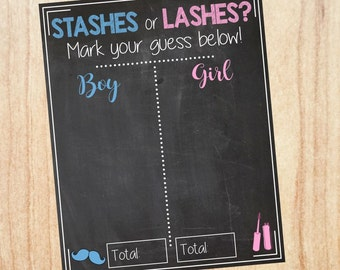Stashes or Lashes Gender Reveal Guess sign. PRINTABLE baby shower chalkboard poster boy or girl