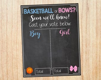 Basketball or Bows Gender Reveal Guess sign baby shower chalkboard PRINTABLE poster boy or girl