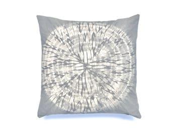 Gray Pillow Boho Pillow Neutral Pillow Boho Nursery Shibori Grey Pillow Grey Throw Pillow Cover 18 x 18 Living Room Boho Decor Dorm