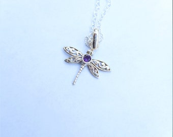 Amethyst necklace,dragonfly necklaces,purple dragonfly pendant, amethyst jewelry,silver dragonfly,purple amethyst dragonfly,925 silver