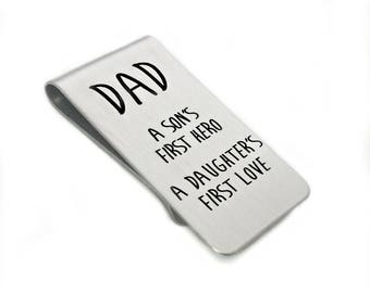 Dad - A Son's First Hero, A Daughter's First Love - Father's Day Money Clip - Gift for Dad - Engraved Personalized Moneyclip - 1026