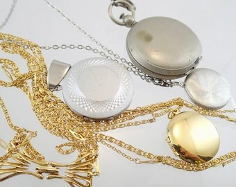 FREE Shipping Vintage Locket Lot of 4 Pendant Charm Necklace Collection