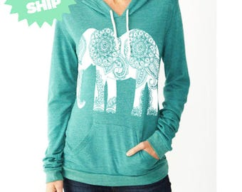 Womens Paisley ELEPHANT Hoodie *Tshirt Lightweight* Sweatshirt Hooded Alternative Apparel Gray, Blue, Pink, Black