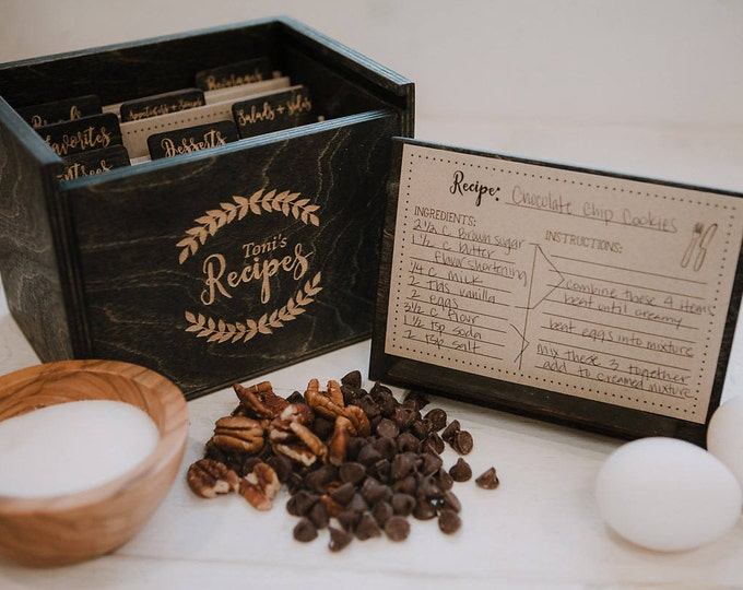 Featured listing image: 4x6 - Wood Recipe Box with recipe stand - 4x6 recipe cards - engraved wood recipe card dividers