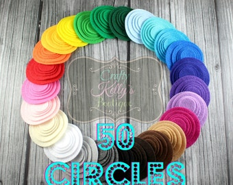 50 FELT CIRCLES-Best Seller, Mix & Match, CHOOSE Size and Color, Die Cut Felt Circles, Rainbow Felt Circles