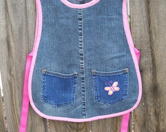 Jean Girl Child Cobbler Apron - Recycled Denim Kids Cobbler with Butterfly - Size Small