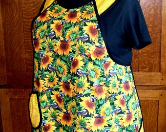 Sunflowers and Birds New Retro Plus Size Apron - Size 2XL