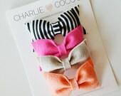 Baby/Girls Felt Bow Set, Felt Bow Headband Set, Felt Hair Bow Set, Felt Hair Clips Set (Fuchsia, Taupe, Papaya, Black and White Stripes)