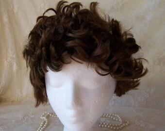 Vintage Human Hair Wig.Ladies Brown Curly Wig.Ladies Short Wig.Womens Curly Wig.Ladies Wig.Small to Medium Wig.Short Wig.Short Brown Wig.