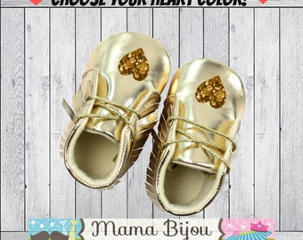 Gold Baby Shoes, Gold Baby Moccasins, Gold Baby Booties, Crib Shoes, Baby Accessories, Baby Clothes, Baby Clothing, Customize Heart Colors