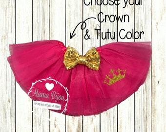 Princess Crown Tutu, Baby Tutu, Customized Tutu, Baby Girl Cake Smash Outfit, Sequin Bow, Birthday Princess Tutu Skirt - CUSTOMIZE YOUR TUTU