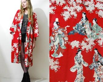70s Vintage JAPANESE Robe Cherry Blossom Geisha Print Kimono Red Lightweight Jacket Duster Ethnic Asia Japan Cotton 1970s vtg Free Size S-M