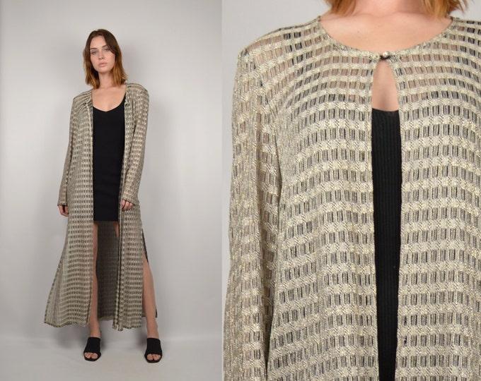Silver Woven Duster Jacket Boho Maxi Crochet Vintage