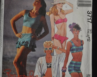 1980's Two Piece Swimsuits, a Brooke Shields Pattern by McCall's #3717 - Size 12 - Mostly Uncut