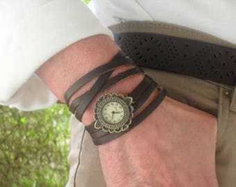 WRAP WATCH, bracelet watch, Vintage watch, calf leather watch, bronze watch, brown leather watch, wrist watch, gift for women, adjustable