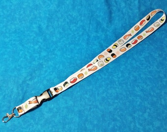 Sushi Lanyard ID Badge Holder - Lobster Clasp and Clip