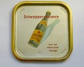 Vintage Schweppes Indian Tonic Water Advertising Metal Serving Tray
