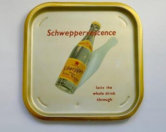 Vintage Schweppes Indian Tonic Water Advertising Metal Serving Tray