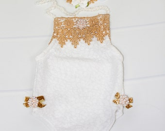 Angels Among Us - newborn halter style romper in white quilted lace knit, gold lace trim, pearl/diamond accent button (RTS) with headband
