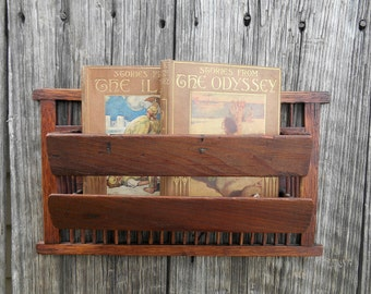 Antique Wood Mail Holder Wall Comb Brush Holder Hanging Unit Organizer Old Wooden Shabby Farmhouse Display Shelf