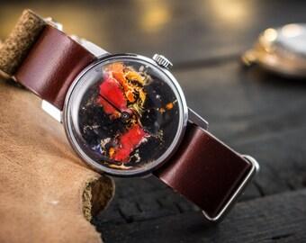 Lights of Universe - Hand painted russian watch, mens watch, womens watch, vintage watch, mechanical wrist watch, leather watch, retro watch