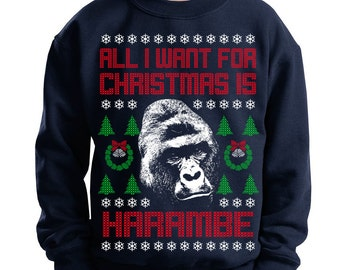 Youth All I Want For Christmas Is Harambe Ugly Christmas Sweater Sweatshirt Pop Culture Gorilla Animal Rights Holiday Crewneck Kids Sizes