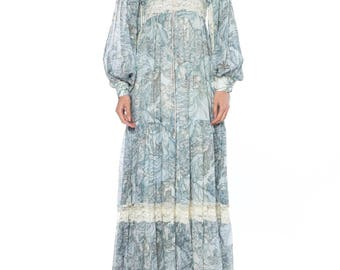 Boho Blue Prarie Dress With Conversational People Print Size: 0-2