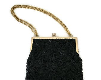 Vintage Beaded Evening Bag Black Bugle Beads Gold Kiss Clasp and Chain Retro Prom Fashion