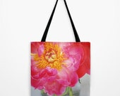 Romantic Pink Peony Tote Bag with Tassel - Gift for Bridesmaids - Garden Photography - S, M, L sizes - Nature Prints - Farmers Market Bag